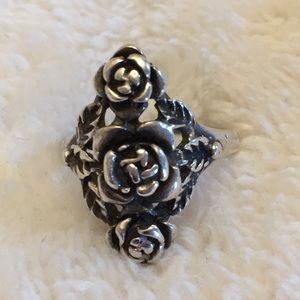 Sterling silver 925 rose ring rocker